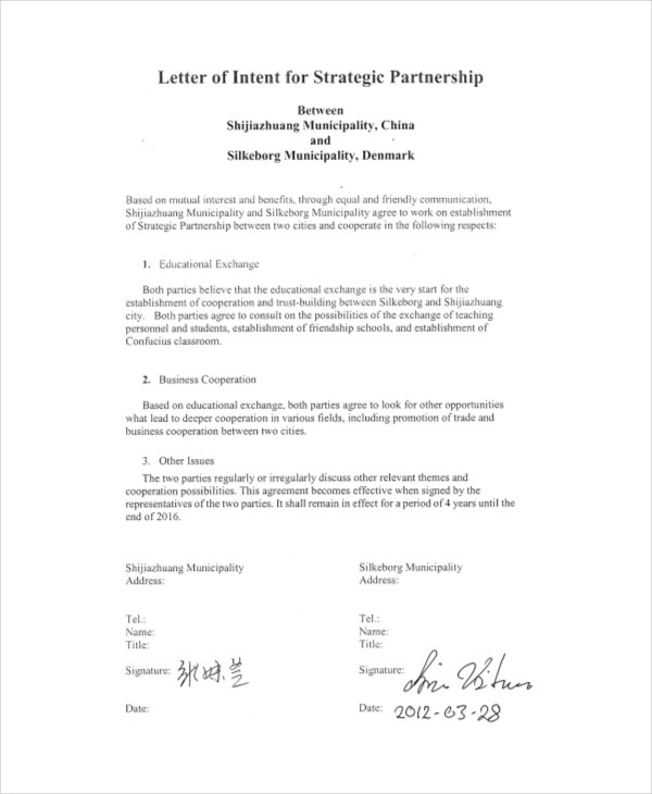 letter of intent of business partnership