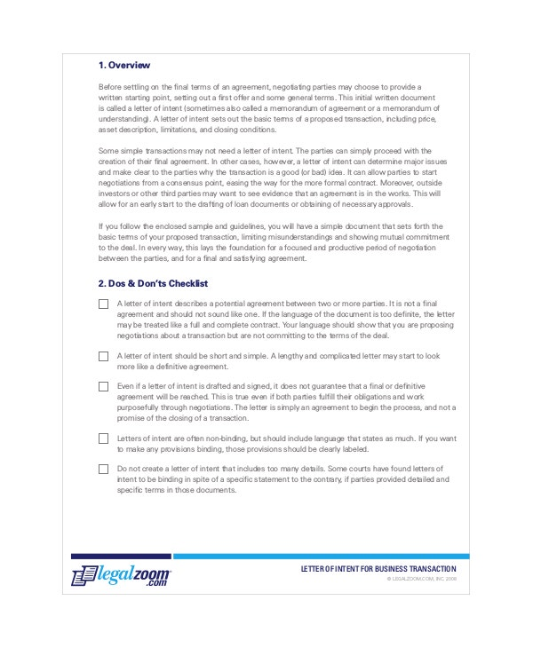 14 Letter of intent Templates Free Sample Example Format – Letter of Intent to Do Business Together