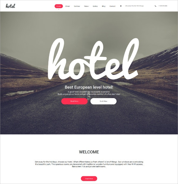 Business Hotels Responsive Moto CMS 3 Website Template $199