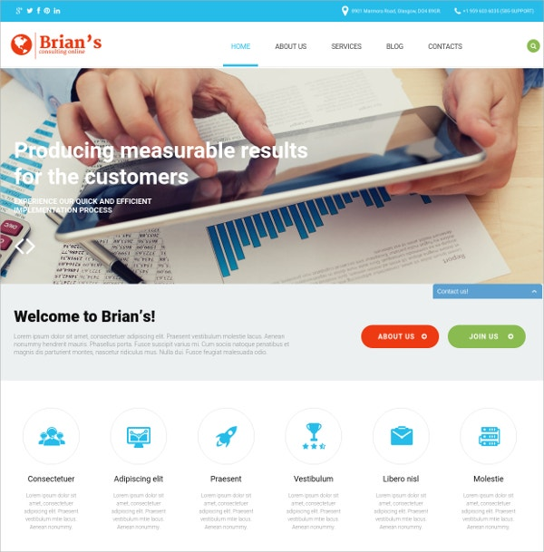 Consulting Business WordPress Website Theme $39