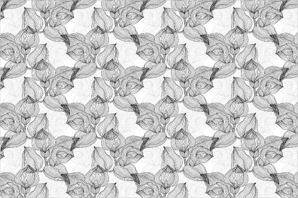 black white floral pattern