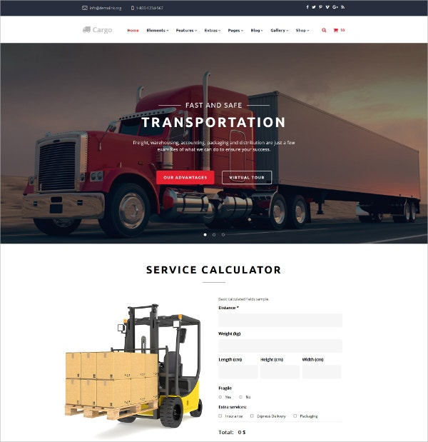 Multipurpose Transportation Business Website Template $75