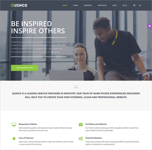Modern Business WordPress Website Theme $59