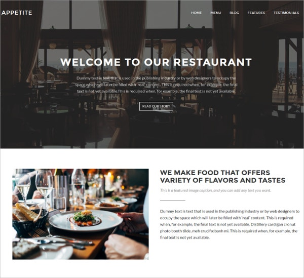 Restaurant Business WordPress Website Theme $150