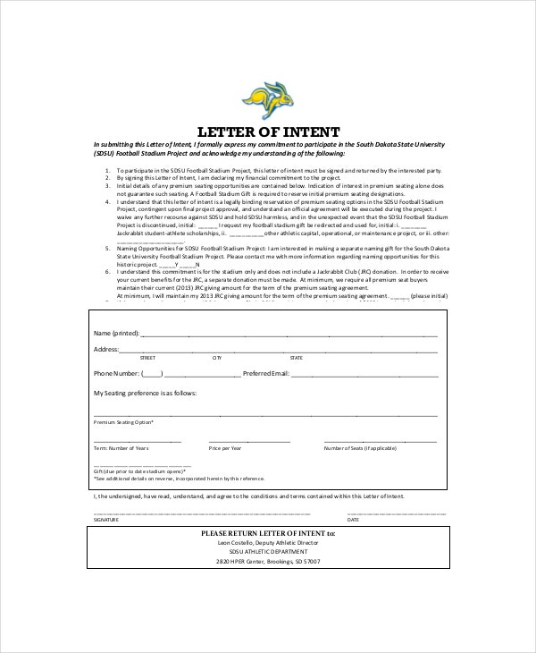 Financial Commitment Letter Of Intent Template  Free Letter Of Intent Sample