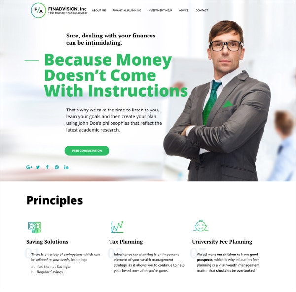 Financial Business Website Template $75