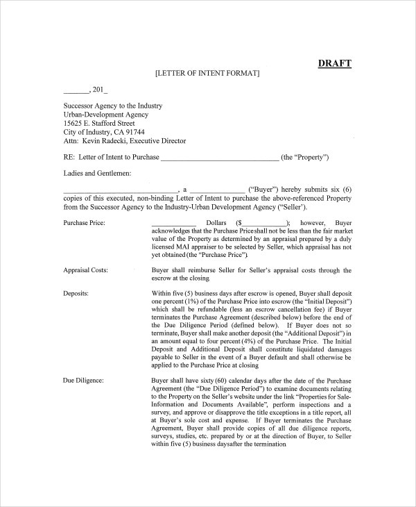 Superb Letter Of Intent Template For Construction Project  Letter Of Intent To Purchase Goods
