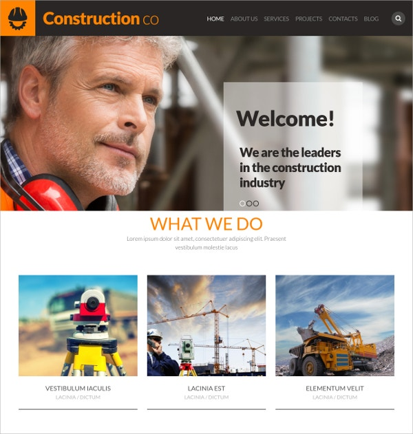 Construction Business WordPress Website Theme $39