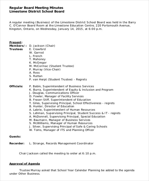 Construction Board Meeting Minutes Template  Free Sample Minutes Of Meeting Template