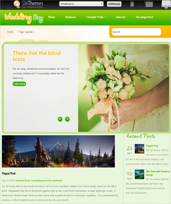 free wedding day wordpress website theme1