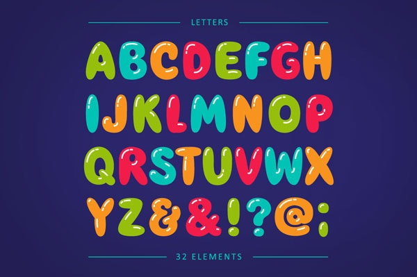 balloon typeface bubble letters