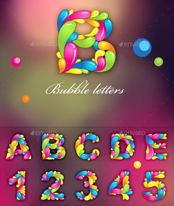 colorful bubble letters template