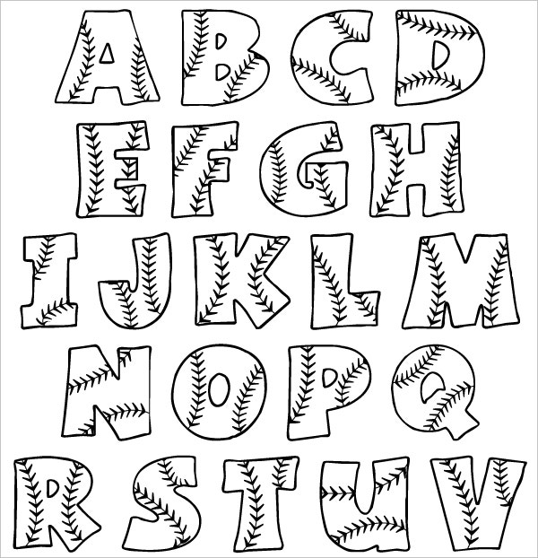 Printable Baseball Bubble Alphabet Letters