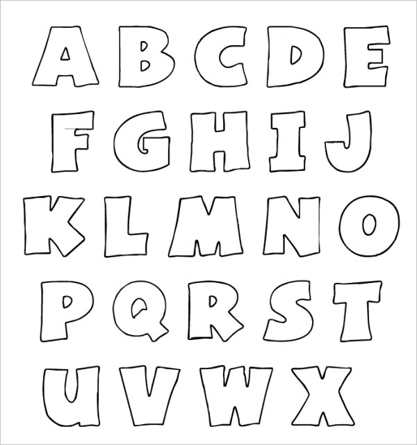 Printable White Color With Black Outline Bubble Letters