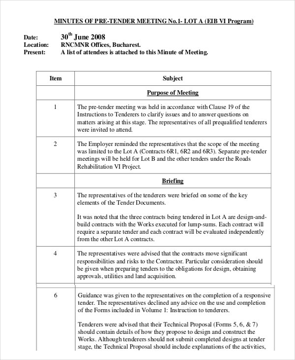 business writing meeting minutes template