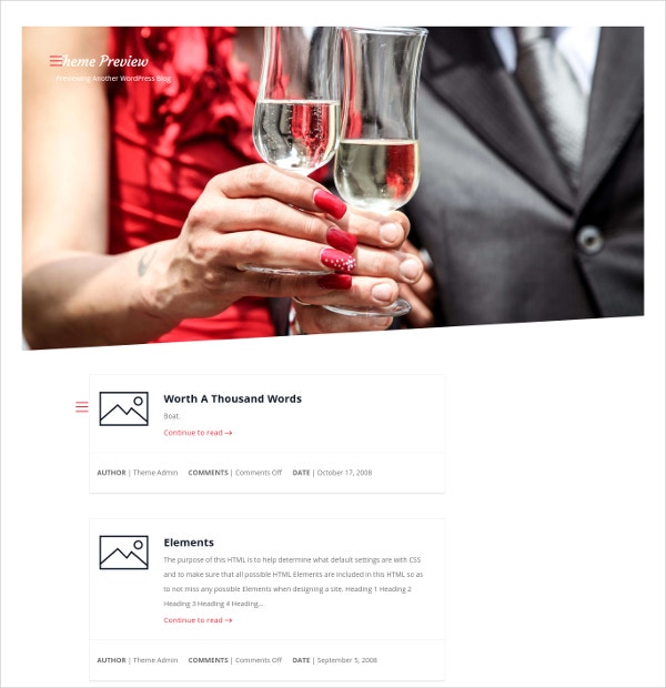 Free Love Bond Wedding WordPress Website Theme