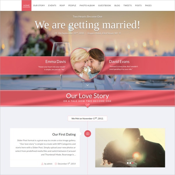 WordPress Website Wedding Theme $44