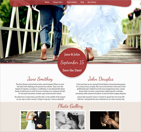 Pretty WordPress Wedding Website Theme $49