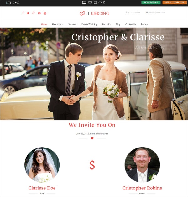 free nice couple wedding wordpress website theme1