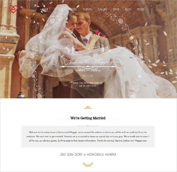 WordPress Wedding Blog Website Theme $59