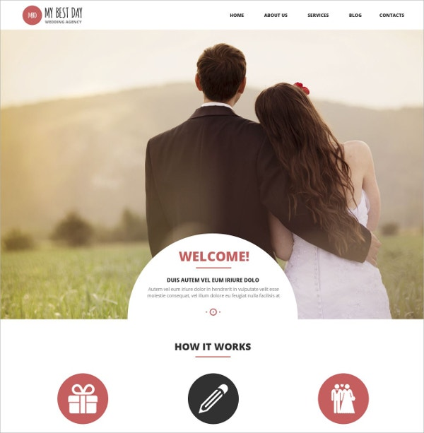 Wedding Planning Consultancy WordPress Website Theme $75