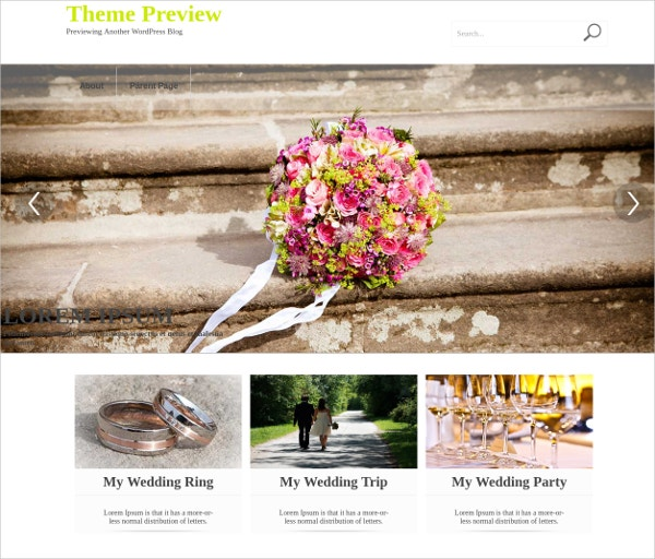 Free Wedding Party WordPress Website Theme