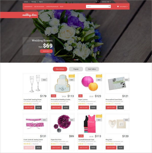 Wedding Day PrestaShop Website Theme $139