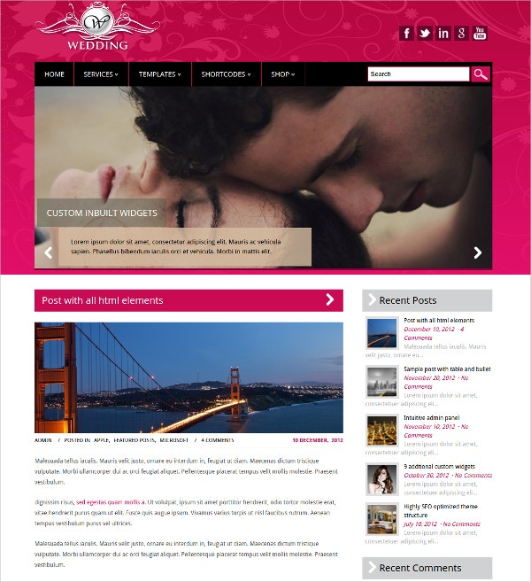 Free Wedding WordPress Website Theme