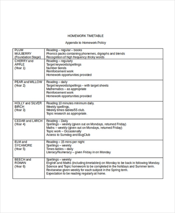 Timetable Templates  Free Sample Example Format  Free