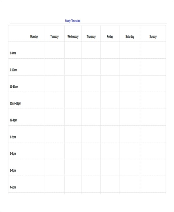 13+ Timetable Templates - Free Sample, Example, Format | Free