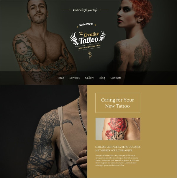 Creative Tattoo Portfolio WordPress Theme $75