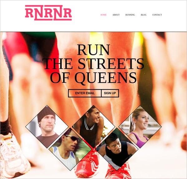 running pre website template