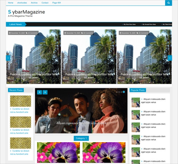 Sybar Magazine Website Template