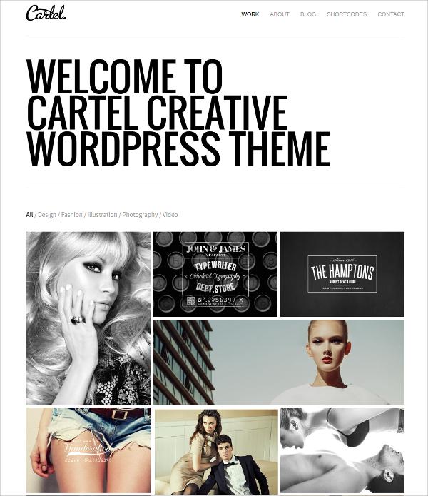 Minimalist Responsive Portfolio WordPress Theme $44