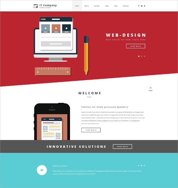 IT Company Portfolio WordPress Theme $75