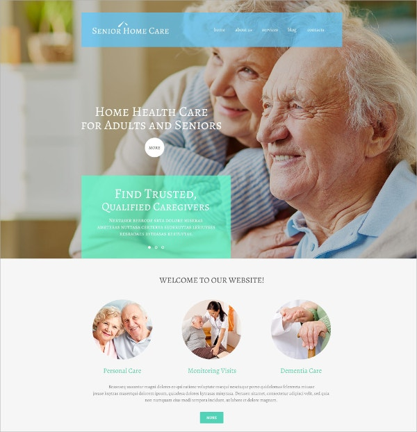 Senior Home Care Portfolio WordPress Theme $79