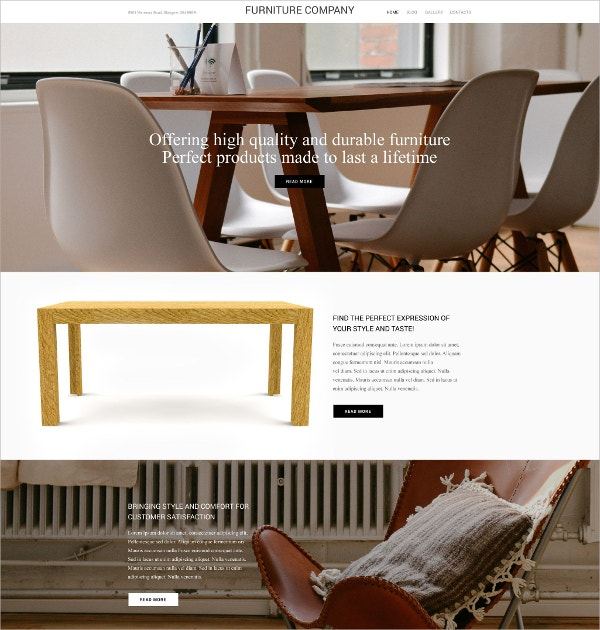 Furniture Company WordPress Portfolio Theme $79