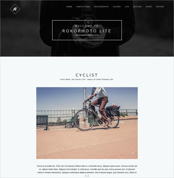 free photography wordpress website theme1