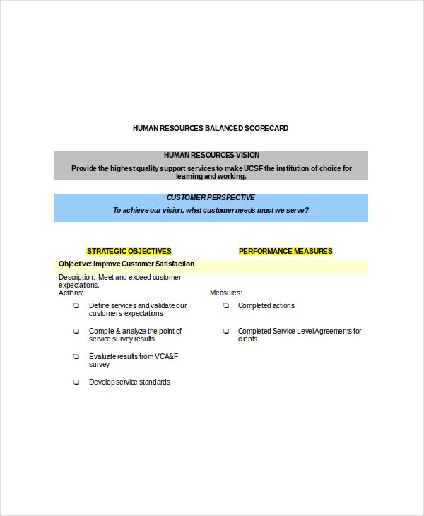 human resources balanced scorecard