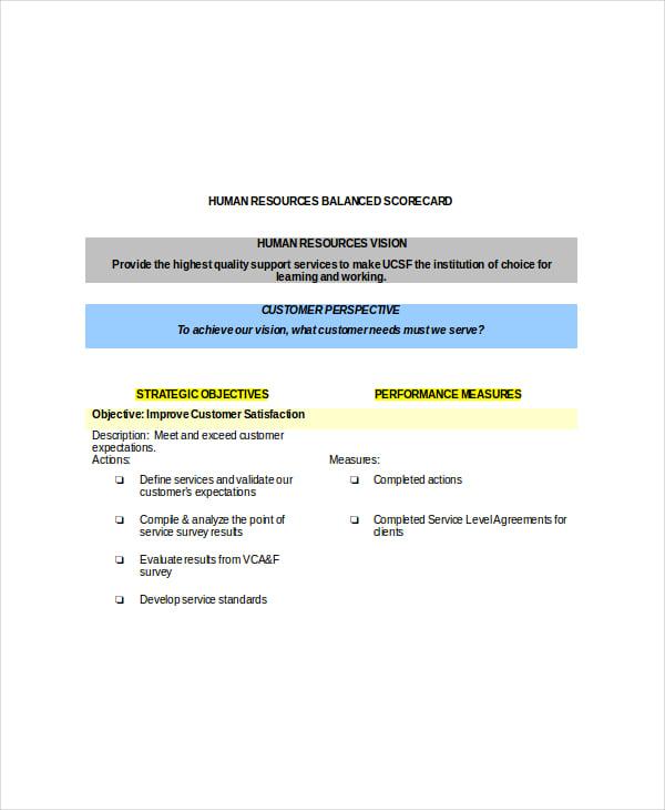 Balanced Scorecard Template 8 Free Word Pdf Documents Download