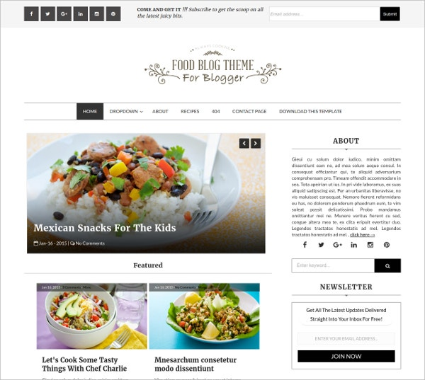 Blogger Template - Food Blog