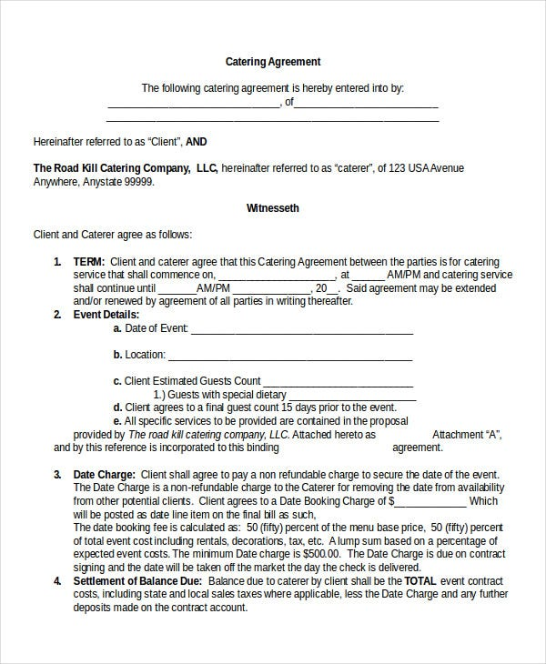 13 contract templates free sample example format for Catering contracts templates