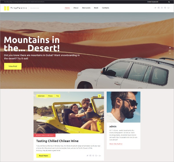 Travel Blog WordPress Theme $45