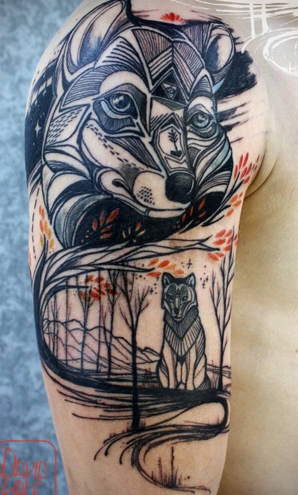 awesome fox arm tattoo