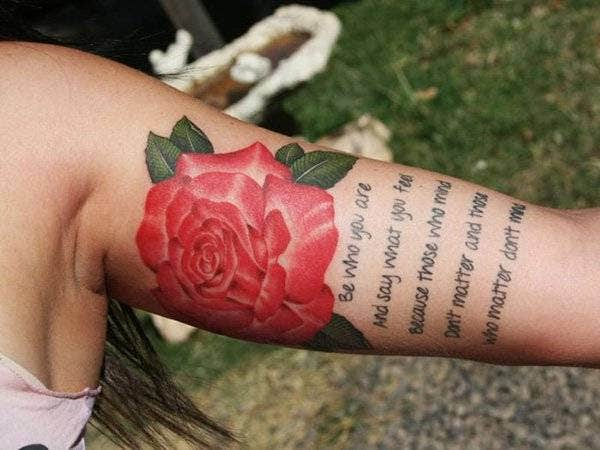 Inner Upper Arm Rose Tattoo for Women