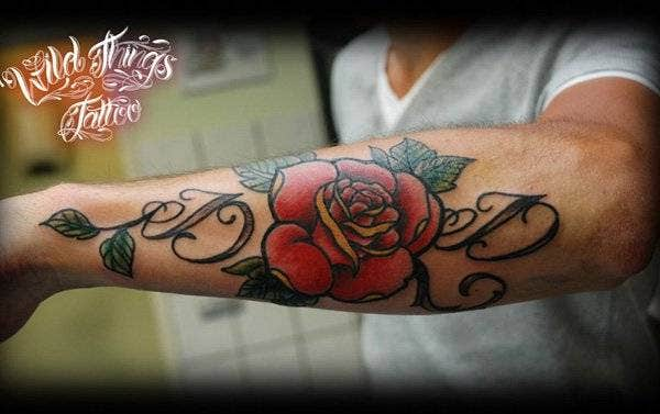 Lettering With Rose Tattoo on Arm