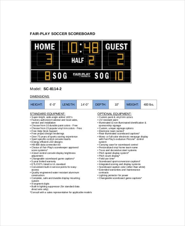 flat soccer scoreboard template