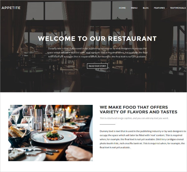 Elegant Restaurant WordPress Website Template $150