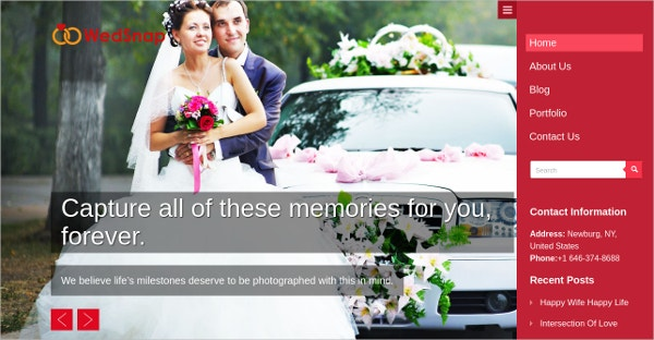 Wedding Photography WordPress Website Theme $69