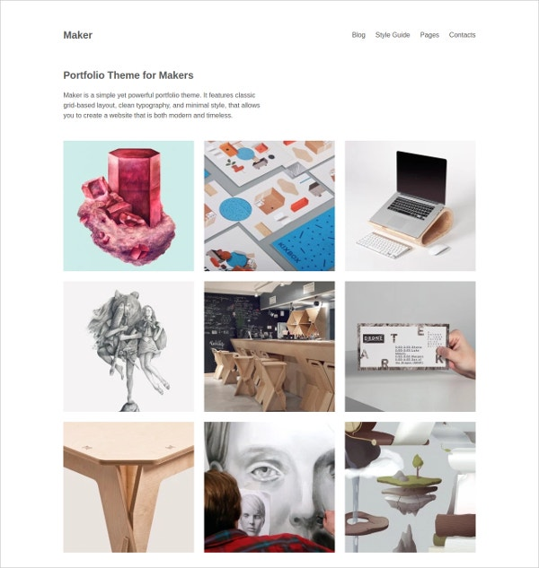 Grid Portfolio WordPress WebsiteTheme $29